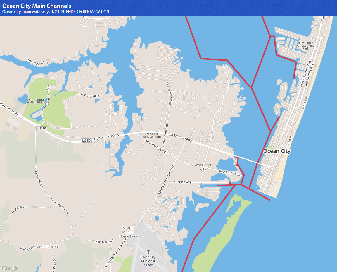 The Waterways Fishing Reports News Ocean City MD Tournaments - Ocean city md map